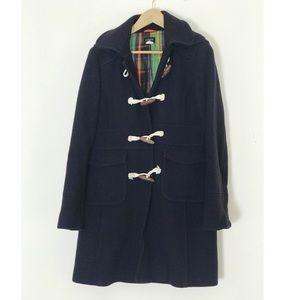 J.Crew Long Wool & Silk Navy Toggle Pea Coat